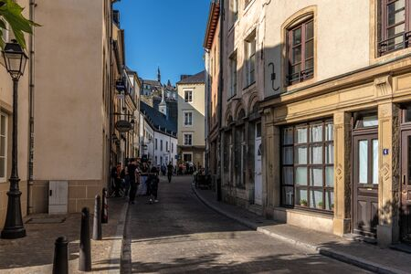 LUXEMBOURG CITY, LUXEMBOURG - SEPTEMBER 21: This is an old town street with shops in the historic quarter of Ville Haute on September 21, 2019 in Luxembourg