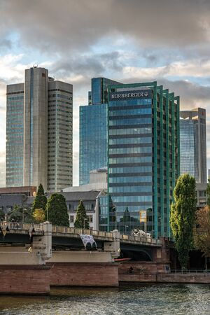 FRANKFURT, GERMANY - SEPTEMBER 25: View of high rise riverside city buildings in the Frankfurt financial district along the river main on September 25, 2019 in Frankfurt 에디토리얼