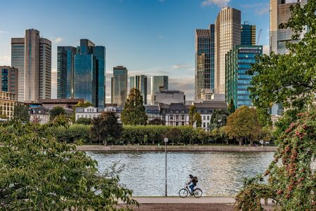 FRANKFURT, GERMANY - SEPTEMBER 25: This is a view of the Frankfurt financial district and riverside park along the River Main on September 25, 2019 in Frankfurt