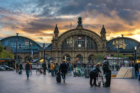 FRANKFURT, GERMANY - SEPTEMBER 25: This is a view of the Hauptbahnhof main train station in the downtown area during sunset on September 25, 2019 in Frankfurt