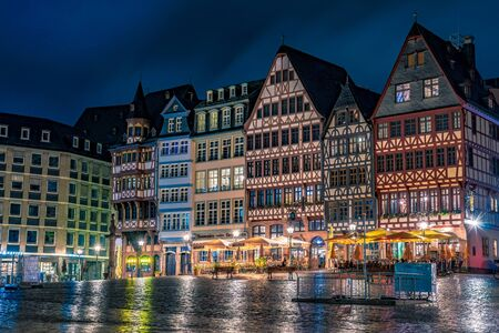 FRANKFURT, GERMANY - SEPTEMBER 25: This is a night view of the old town square historic architecture on September 25, 2019 in Frankfurt