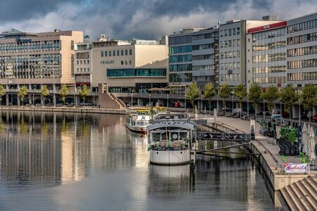 SAARBRUCKEN, GERMANY - SEPTEMBER 23: This is a view of city buildings in the city center along the River Saar on September 23, 2019 in Saarbrucken