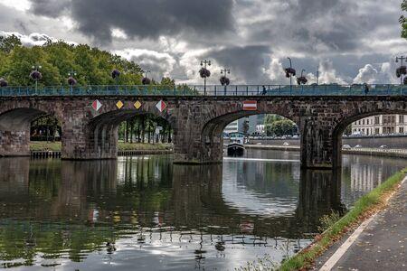 SAARBRUCKEN, GERMANY - SEPTEMBER 23: This is the Old Bridge, a famous landmark bridge along the River Saar on September 23, 2019 in Saarbrucken