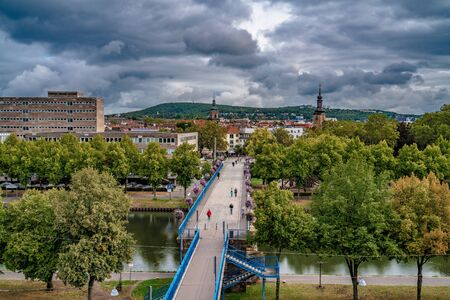 SAARBRUCKEN, GERMANY - SEPTEMBER 23: This is a view of the Old Bridge, a popular tourist destination along the River Saar on September 23, 2019 in Saarbrucken