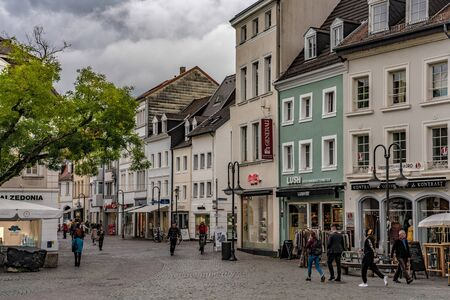 SAARBRUCKEN, GERMANY - SEPTEMBER 23: This is a shopping street in the old town area of the city which is a popular tourist destination on September 23, 2019 in Saarbrucken 에디토리얼