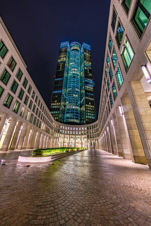 FRANKFURT, GERMANY - SEPTEMBER 25: Night view of tower 185, a landmark skyscraper in the downtown financial district on September 25, 2019 in Frankfurt