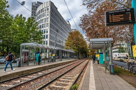 FRANKFURT, GERMANY - SEPTEMBER 25: View of tram station tracks and buildings in the city center financial district area on September 25, 2019 in Frankfurt
