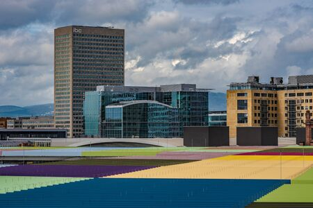 FRANKFURT, GERMANY - SEPTEMBER 25: View of colorful rooftop and city buildings from Skyline Plaza shopping mall on September 25, 2019 in Frankfurt