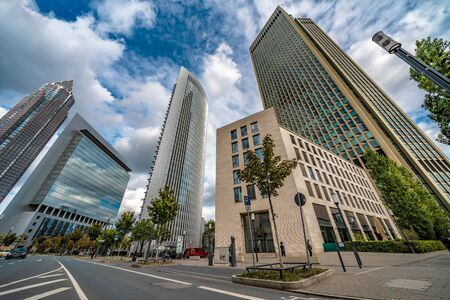 FRANKFURT, GERMANY - SEPTEMBER 25: This is a view of modern city skyscrapers in the downtown financial district on September 25, 2019 in Frankfurt
