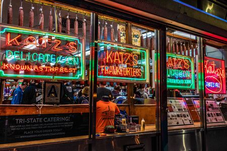 NEW YORK, USA - OCTOBER 14: This is Katz's Delicatessen a famous restaurant in the lower east side of Manhattan on October 14, 2019 in New York