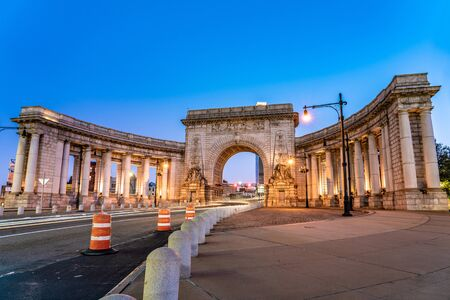 NEW YORK, USA - OCTOBER 14: Evening view of the Manhattan Bridge Arch and Colonnade in the Chinatown area on October 14, 2019 in New York