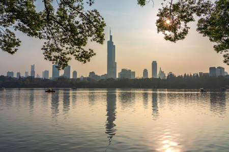 NANJING, CHINA - NOVEMBER 09: Scenic view of Xuanwu Lake, a famous travel destination on November 09, 2019 in Nanjing