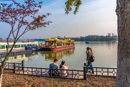NANJING, CHINA - NOVEMBER 09: This is a view of the Lakeside park area at Xuanwu Lake on November 09, 2019 in Nanjing