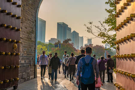 NANJING, CHINA - NOVEMBER 09: This is the entrance to Xuanwu Lake through the ancient city wall on November 09, 2019 in Nanjing