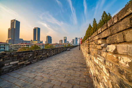 NANJING, CHINA - NOVEMBER 09: This is the Nanjing ancient city wall, a popular tourist destination and historic site on November 09, 2019 in Nanjing Stock Photo - 144638460