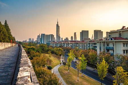 NANJING, CHINA - NOVEMBER 09: City view from the Nanjing ancient city wall during sunset on November 09, 2019 in Nanjing