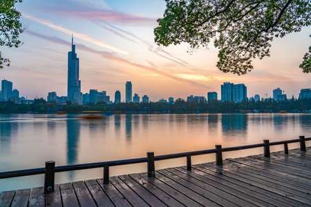 NANJING, CHINA - NOVEMBER 08: This is a lakeside view of the scenery at Xuanwu Lake, a popular travel destination  08, 2019 in Nanjing