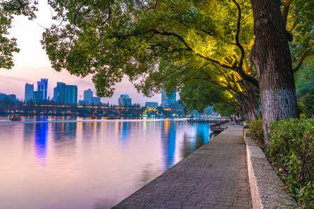 NANJING, CHINA - NOVEMBER 09: Evening view of Xuanwu Lake, a popular travle destination on November 09, 2019 in Nanjing Editorial