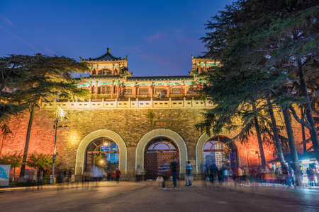 NANJING, CHINA - NOVEMBER 09: This is a night view to the gate of the Nanjing City Wall and the entrance to Xuanwu Lake on November 09, 2019 in Nanjing Editorial