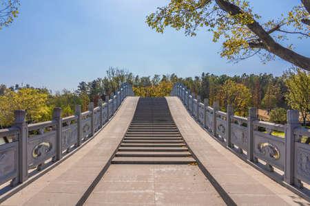 NANJING, CHINA - NOVEMBER 09: Traditional Chinese bridge on Niushoushan, a popular tourist destination on November 09, 2019 in Nanjing Editorial