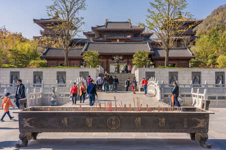 NANJING, CHINA - NOVEMBER 10: This is a Chinese buddhist temple on Niushoushan Mountain on November 10, 2019 in Nanjing