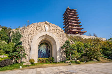 NANJING, CHINA - NOVEMBER 10: Buddhist Shrine and pagoda Niushoushan cultural and tourism zone  on November 10, 2019 in Nanjing Editorial