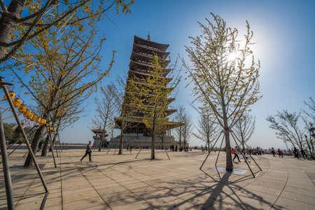NANJING, CHINA - NOVEMBER 10: View of a traditional Chinese pagoda at Niushoushan Cultural Tourism Zone on November 10, 2019 in Nanjing