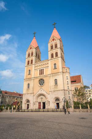 QINGDAO, CHINA - NOVEMBER 12: This is St. Michael's Cathedral, an historic catholic church on Zhejiang Road on November 12, 2019 in Qingdao