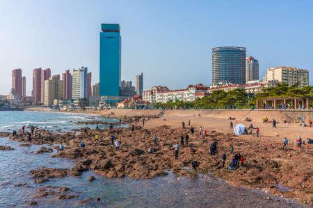 QINGDAO, CHINA - NOVEMBER 12: View of the popular beach in the Zhongshan Road district near Zhanqiao Pier on November 12, 2019 in Qingdao Editorial