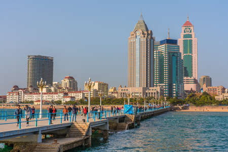 QINGDAO, CHINA - NOVEMBER 12: This is a view of Zhanqiao Pier and city buildings along the waterfront on November 12, 2019 in Qingdao Editorial