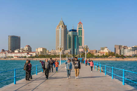 QINGDAO, CHINA - NOVEMBER 12: View of the Qingdao waterfront from the Zhanqiao Pier, a popular tourist destination on November 12, 2019 in Qingdao