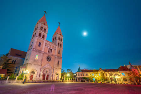 QINGDAO, CHINA - NOVEMBER 12: This is a night view of St. Michael's Cathedral, an historic catholic church on Zhejiang Road on November 12, 2019 in Qingdao Editorial