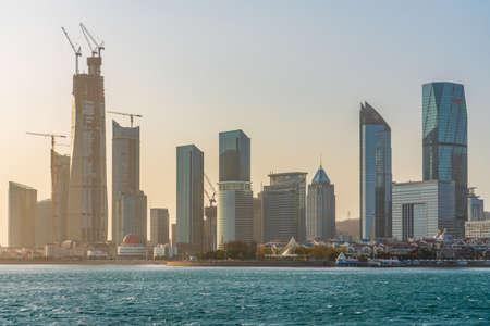 QINGDAO, CHINA - NOVEMBER 13: View of the Qingdao financial district skyline along the waterfront on November 13, 2019 in Qingdao