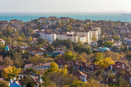 QINGDAO, CHINA - NOVEMBER 14: Scenic view of houses and nature near the ocean in the Jinkou Road Residential District on November 14, 2019 in Qingdao Editorial