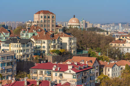 QINGDAO, CHINA - NOVEMBER 14: View of traditional buildings and houses in the Jiangsu Road residential district on November 14, 2019 in Qingdao