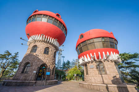 QINGDAO, CHINA - NOVEMBER 14: Buildings which offer panoramic views of the city from Signal Park Mountain on November 14, 2019 in Qingdao
