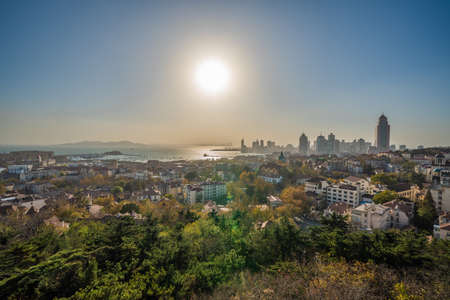QINGDAO, CHINA - NOVEMBER 14: Scenic view of the Zhongshan Road district from Signal Mountain Park on November 14, 2019 in Qingdao