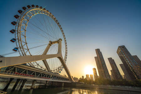 TIANJIN, CHINA - NOVEMBER 19:  This is the Tianjin Eye, a popular tourist destination on the Hai River on November 19, 2019 in Tianjin
