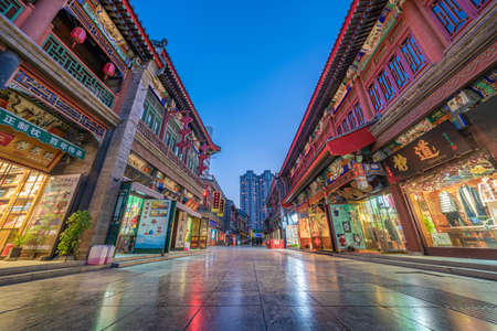 TIANJIN, CHINA - NOVEMBER 19: Night view of the Tianjin Ancient Culture Street, a popular shopping and tourist destination on November 19, 2019 in Tianjin Editorial
