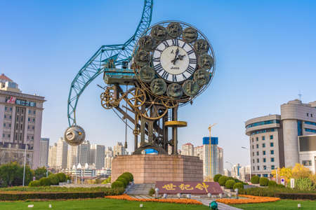TIANJIN, CHINA - NOVEMBER 18: This is Century Clock, a famous landmark structure near the Jiefang Bridge in the downtown area on November 18, 2019 in Tianjin