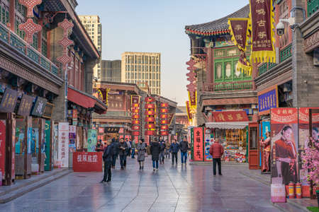 TIANJIN, CHINA - NOVEMBER 18: This is the Tianjin Ancient Culture Street an historic area with traditional shops and buildings on November 18, 2019 in Tianjin