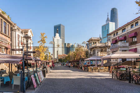 TIANJIN, CHINA - NOVEMBER 19: This is the Italian Style Street, a popular travel destination with restaurants and shops on November 19, 2019 in Tianjin Editorial