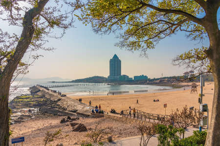 QINGDAO, CHINA - NOVEMBER 15: This is a beach view at Badaguan scenic area, a famous travel destination on November 15, 2019 in Qingdao Editorial