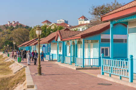 QINGDAO, CHINA - NOVEMBER 15: This is a view of beach huts at the Badaguan scenic area, a popular tourist destination on November 15, 2019 in Qingdao