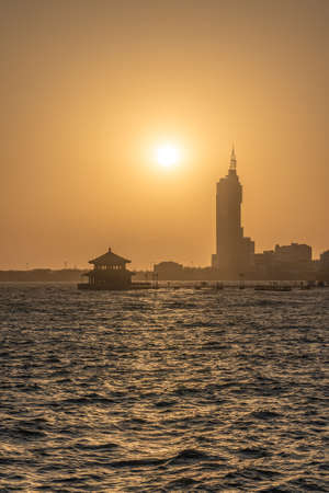 View of Zhanqiao Pier at sunset in Qingdao Editorial