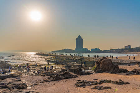 QINGDAO, CHINA - NOVEMBER 15: This is a beach view in the Badaguan scenic area, a popular travel destination on November 15, 2019 in Qingdao
