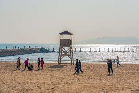 QINGDAO, CHINA - NOVEMBER 15: Beach view at Badaguan scenic area, a popular travel destination on November 15, 2019 in Qingdao Editorial