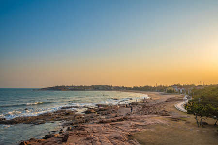 View of a beach in Qingdao during sunset