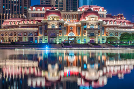 TIANJIN, CHINA - NOVEMBER 16: This is a night view of traditional european style buildings along the Hai River on November 16, 2019 in Tianjin