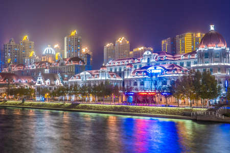 TIANJIN, CHINA - NOVEMBER 17: This is a night view of Italian style architecture along the HaI River on November 17, 2019 in Tianjin Editorial